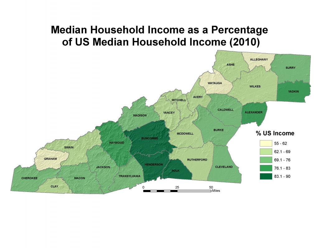 Income Western North Carolina Vitality Index - Income map of us