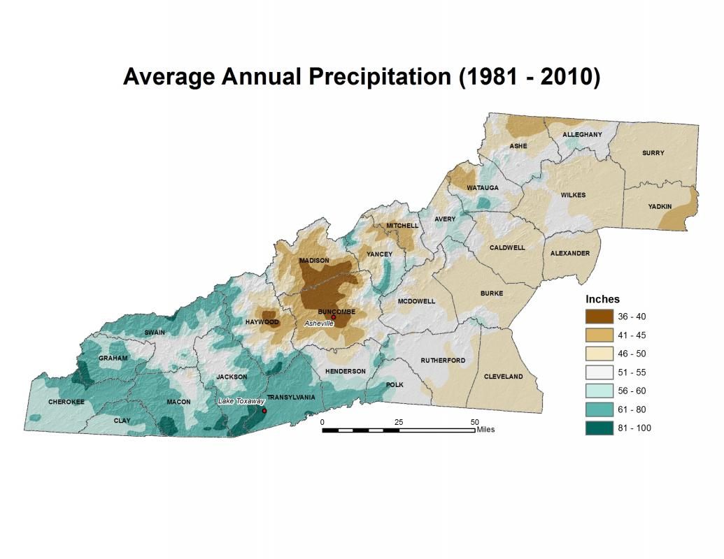 Precipitation Variability Western North Carolina Vitality Index - Average annual snowfall map us