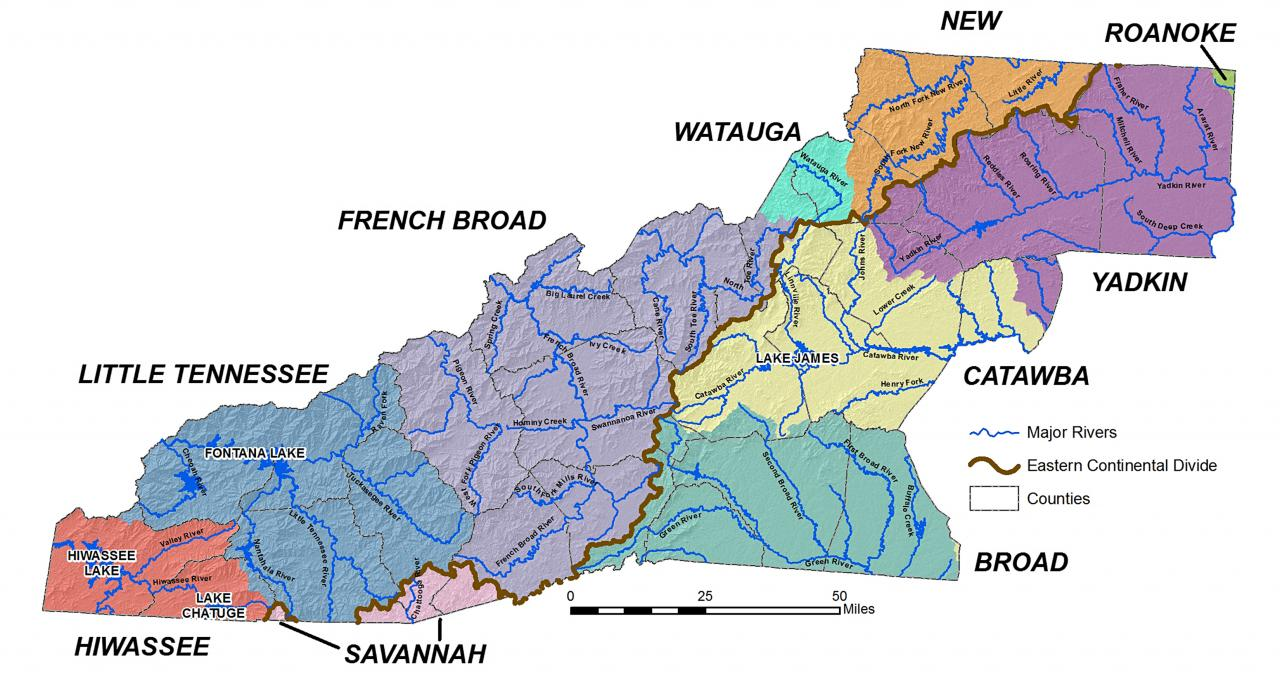 River Basins Western North Carolina Vitality Index - River system map