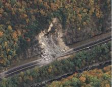 The October 2009 rockslide that closed I-40 in the Pigeon River Gorge.