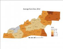 Average Farm Size Map - 2012