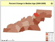 Change in Median Age Map - 2000-2009