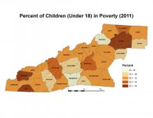 Percent of Children (Under 18) in Poverty Map (2011)