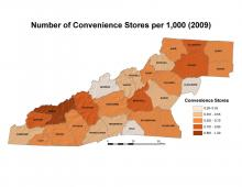 Number of Convenience Stores per 1,000 People Map (2009)