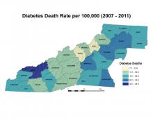 Diabetes Death Rate per 100,000 People Map (2007–2011)