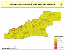 Distance to Nearest Roads Map