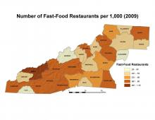 Number of Fast-Food Restaurants per 1,000 People Map (2009)