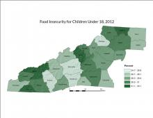 Food Insecurity Rate for Children Under 18 Map