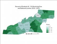 Percent of Students Receiving Free and Reduced Lunches Map
