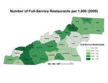 Number of Full-Service Restaurants per 1,000 People Map (2009)