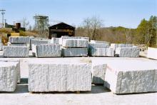 Granite dimension stone blocks from the Mount Airy quarry.