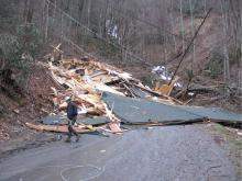 A home destroyed by a January 2009 debris flow in Maggie Valley.
