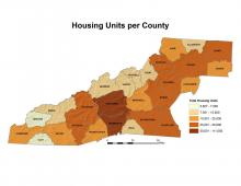 Housing Units per County Map