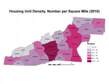 Housing Unit Density Map, Number per Square Mile (2010)