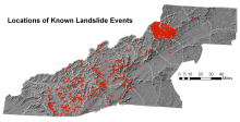 Locations of Known Landslide Events