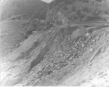 Landslide damage to U.S. 421 outside of Boone from the August 1940 storm.