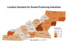Location Quotient for Goods-Producing Industries Map