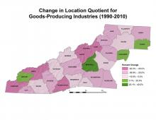 Change in Location Quotient for Goods-Producing Industries Map