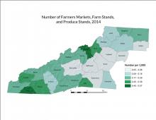 Number of Farmers Markets, Farm Stands, and Produce Stands Map