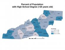 Percentage of Population with High School Degree Map
