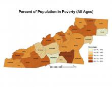 Percentage of Population in Poverty Map