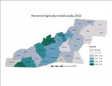 Percent of Agriculture Sold Locally Map