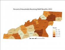 Percent of Households Receiving SNAP Benefits Map