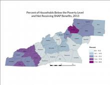 Percent of Households Below Poverty Level Not Receiving SNAP Benefits Map