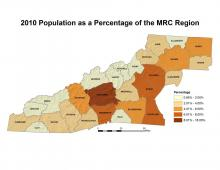 Population as a Percentage of the MRC Region Map