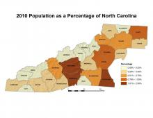 Population as a Percentage of North Carolina Population Map