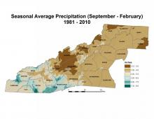Seasonal Average Precipitation (September–February) Map