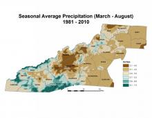 Seasonal Average Precipitation (March–August) Map