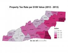 Property Tax Rate for 00 Value Map (2012-2013)