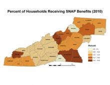 Percent of Households Receiving SNAP Benefits Map (2010)