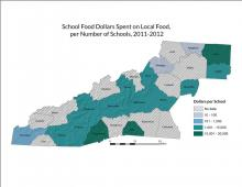 School Food Dollars Spent on Local Food per Number of Schools Map