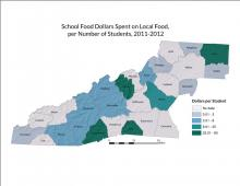 School Food Dollars Spent on Local Food per Number of Students Map