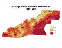 Average Annual Maximum Temperature Map