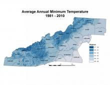 Average Annual Minimum Temperature Map