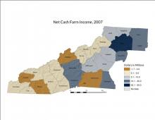 Map | Net Cash Farm Income, 2007
