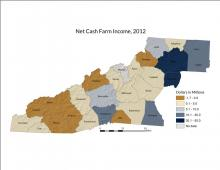 Map | Net Cash Farm Income, 2012