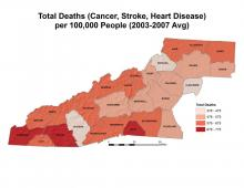 Total Deaths from Cancer, Stroke, and Hearth Disease Map