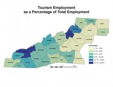 Tourism Employment as a Percentage of Total Employment Map