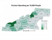 Tourism Spending per 10,000 People Map