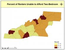 Percent of Renters Unable to Afford Two-Bedroom Housing Map